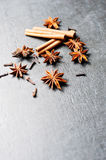 Mulled wine ingredients. Cinnamon, cloves and anise. Stock Photo