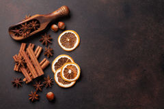 Mulled wine ingredients spices. Anise, cinnamon and cardamom Royalty Free Stock Images