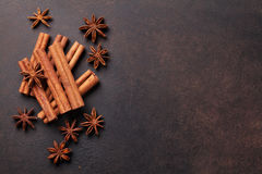 Mulled wine ingredients spices. Anise and cinnamon Royalty Free Stock Photography