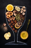 Mulled wine ingredients and spices. Royalty Free Stock Image