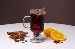 Mulled wine and ingredients Royalty Free Stock Image