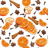 Mulled wine ingridients seamless vector background Stock Images
