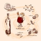 Mulled wine and its components royalty free illustration