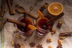 Mulled wine on jute in glasses Stock Photography