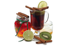 Mulled wine and lemon Stock Photos