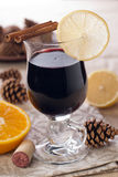 Mulled wine med franska plommoner royaltyfria foton