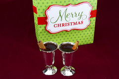 Mulled Wine with Merry Christmas stock photography