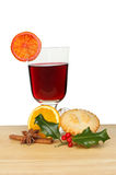 Mulled wine and mince pie Stock Photo