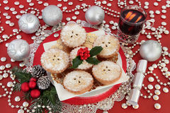 Mulled Wine and Mince Pies Stock Photo