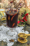 Mulled wine and mince pies Stock Photography