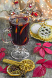 Mulled wine and mince pies Stock Images