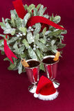 Mulled Wine with Mistletoe and Santa Hat Stock Photography