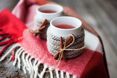 Mulled wine. In mug with mug warmer royalty free stock image