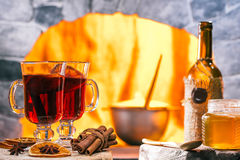 Mulled wine near the hearth Stock Images