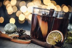 The Mulled wine in night celebration of  New Year party and deli Royalty Free Stock Photography