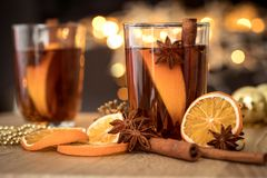 The Mulled wine in night celebration of  New Year party and deli Royalty Free Stock Photos