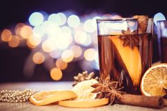 Mulled wine in night celebration of  New Year party and deliciou Royalty Free Stock Image