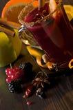 Mulled Wine och frukter Arkivbilder