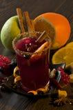 Mulled Wine och frukter Arkivbild