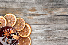 Mulled wine on old wood table Royalty Free Stock Photography