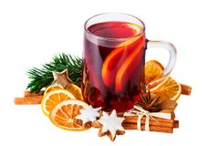 Mulled Wine Or Christmas Punch Isolated On White With Clipping Path Royalty Free Stock Image