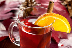 Mulled wine with orange Royalty Free Stock Images