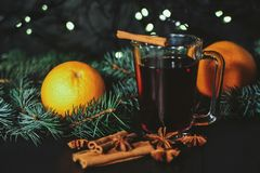 Stylized photo of mulled wine on a christmas background Royalty Free Stock Photos