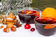 Mulled wine with orange Stock Photography