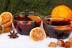 Mulled wine with orange Royalty Free Stock Image