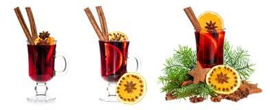 Mulled wine orange cinnamon anise isolated white background stock image