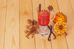 Mulled wine and orange Stock Images