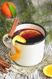 Mulled wine with orange and spice. Stock Images