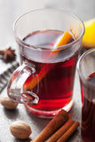 Mulled wine with orange and spices Royalty Free Stock Image