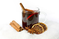 Mulled wine. With oranges and cinnamon Royalty Free Stock Image