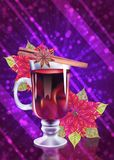 Mulled wine with poinsettia background stock illustration