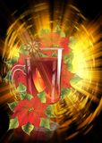 Mulled wine with poinsettia background vector illustration