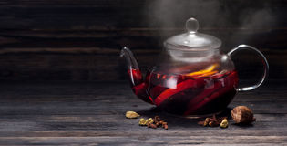 Mulled wine in a pot Stock Image