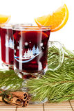 Mulled wine (Punch) with orange slices Royalty Free Stock Images