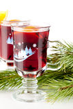 Mulled wine (Punch) with orange slices Royalty Free Stock Image