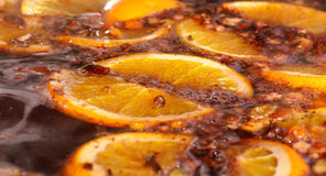 Mulled wine, punch, sangria. Hot warming drink. Close up. Royalty Free Stock Images