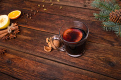 Mulled wine, punch and spices for glintwine on vintage wooden table background Stock Photography