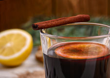 Mulled wine, punch and spices for glintwine on wooden background Stock Image