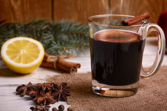 Mulled wine, punch and spices for glintwine on wooden background Stock Images