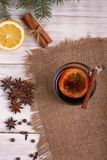 Mulled wine, punch and spices for glintwine on wooden background Stock Photo