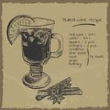 Mulled wine recipe illustration Stock Images