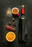 Mulled wine recipe ingredients on chalkboard - winter warming drink Stock Photo