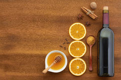 Mulled wine recipe ingredients on wooden board Stock Image