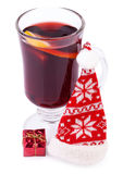 Mulled Wine and Santa hat Stock Images