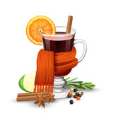 Mulled wine and scarf Stock Images