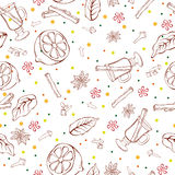 Mulled Wine Seamless Pattern Royalty Free Stock Photo